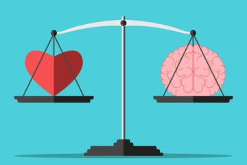 Emotional intelligence showing balance between the heart and the brain