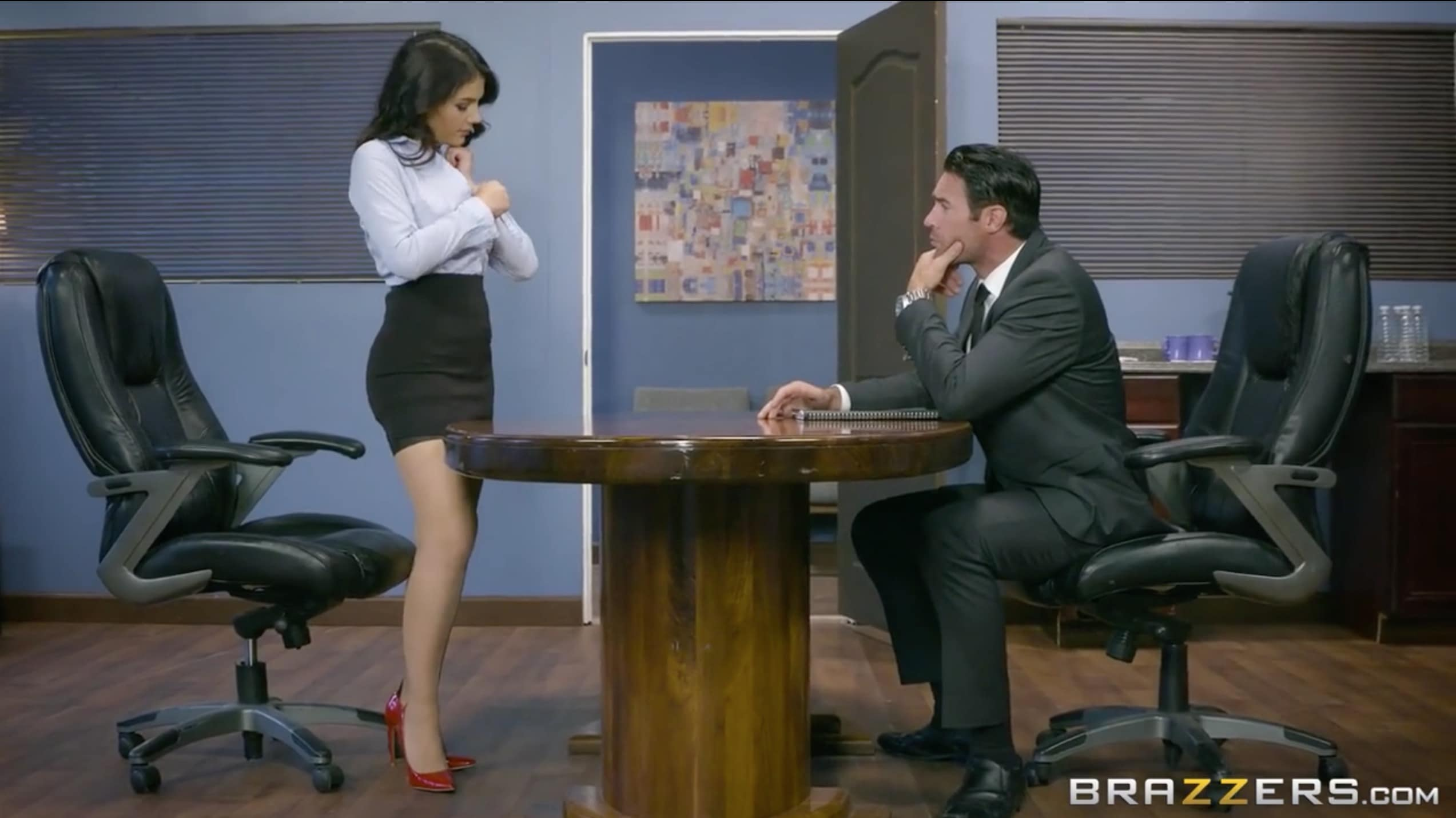 Valentina Nappi as an office lady with red lingerie